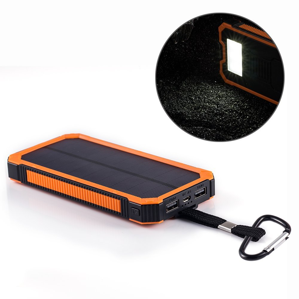 2018 New Arrival PowerGreen 15000mAh Solar Power Bank 5V 2A Solar Charger External Battery Pack for