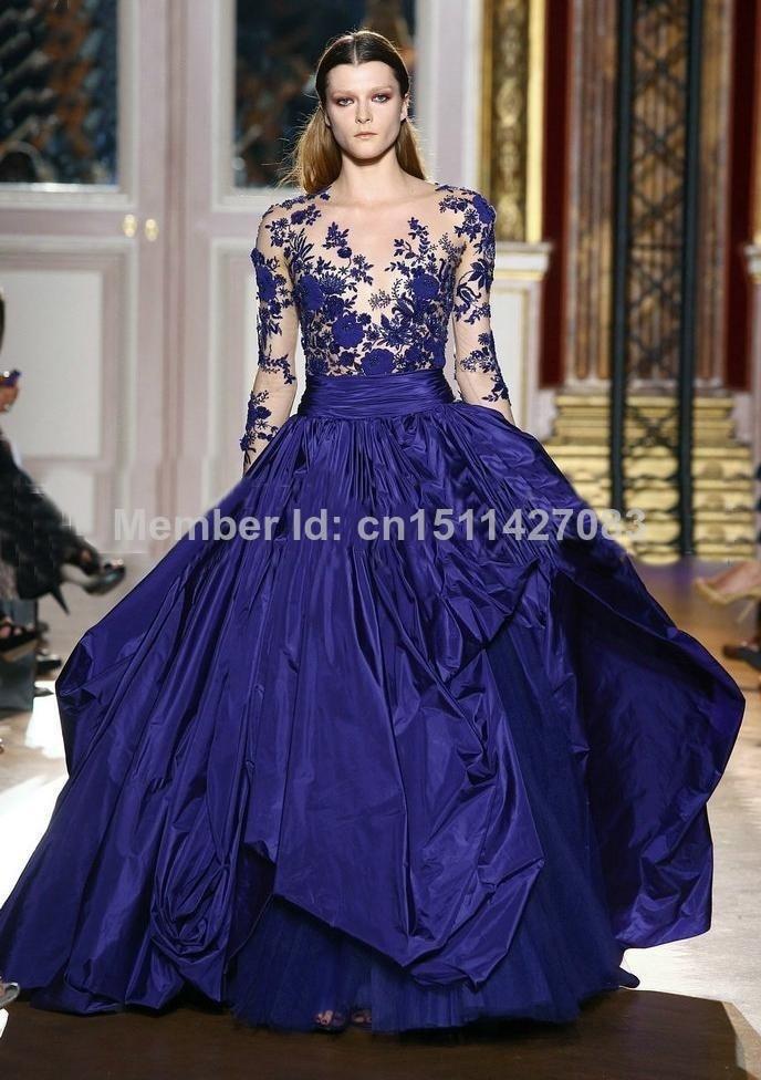 Vestidos De Novia 2015 Royal azul púrpura vestido De fiesta manga ...