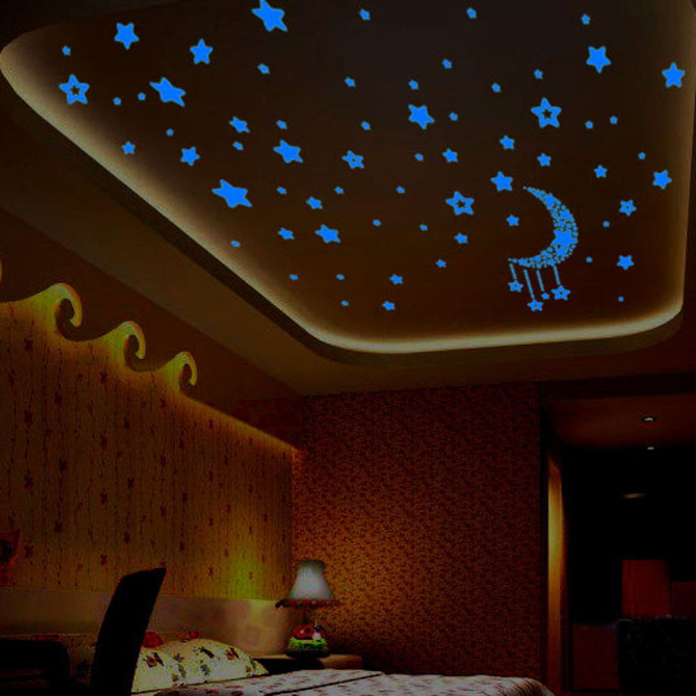 1 Set Stars Moon Glow In The Dark Wall Stickers Decals