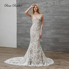 Rosabridal 2019 Mermaid wedding dress The Little sexy Deep V neck and backless lace appliques ivory over nude tulle