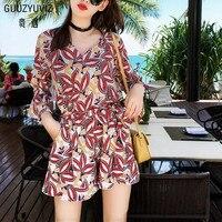 GUUZYUVIZ Boho Style Vintage Rompers Womens Jumpsuit 2018 Summer Flare Sleeve Casual Chiffon Bodysuit Women Print 2Xl Body Femme