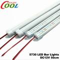 LED Bar Lights DC12V 5730 LED Rigid Strip 50cm LED Tube with U Aluminium Shell + PC Cover 5pcs/lot