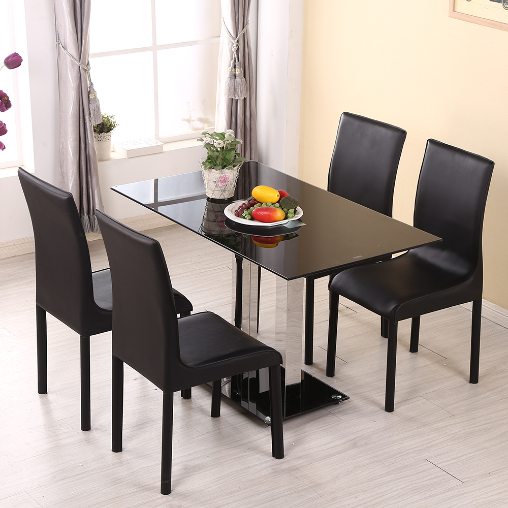 Panana New 120cm Black High Gloss Glass Chrome Dining Table 4 Leather Chairs Seater Furniture Fast shipping