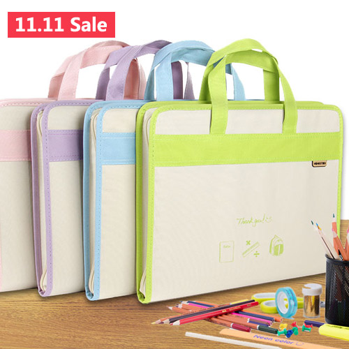 13 layers solid accordion bag-carrying canvas A4 multi-folder student test paper folder business document packet bag document ppyy new a4 zipped conference folder business faux leather document organiser portfolio black