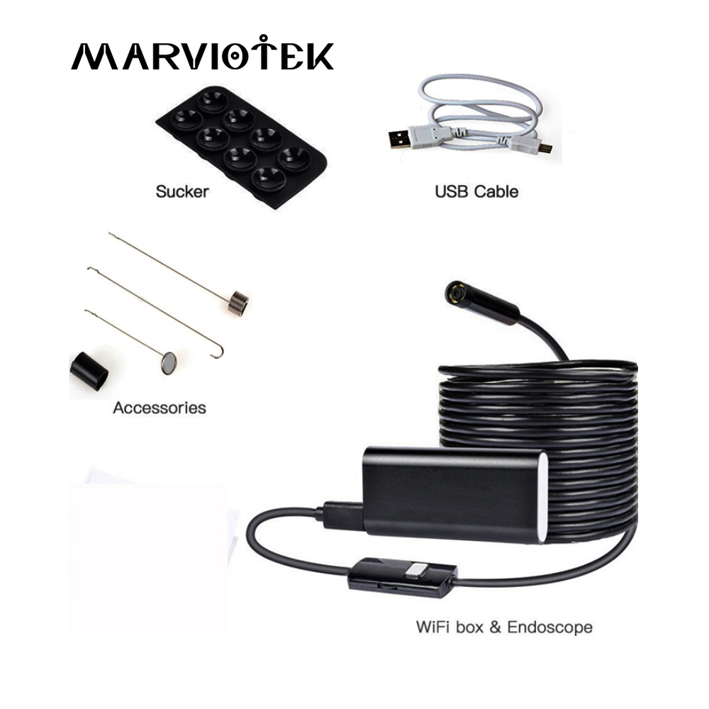 MARVIOTEK Wifi Endoscope Camera 720P Borescope Camera Endoscopio iOS Endoscope For 8mm Waterproof