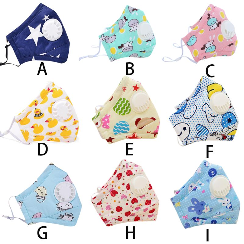 Baby Winter Cotton Anti Pollution PM2.5 Mouth Mask Colored Cartoon Milk Cow Animal Printed Dustproof Respirator With Filters