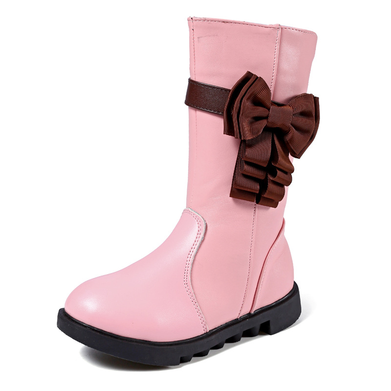 Mid-Calf Girls boots Fashion Autumn Winter Boots for children classic Boot Kids Boots PU Leather baby Toddler Shoes