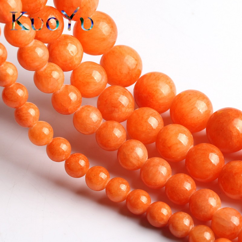 Natural Orange Jades Chalcedony Stone Beads Round Loose Beads For Jewelry Making 15