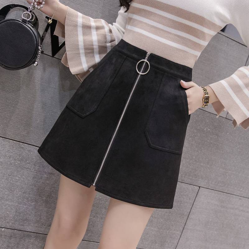Black Elegant Office Lady Solid Color Front Zipper Mid High Waist Skirts Spring Winter Women Suede Leater Package Hip Skirt