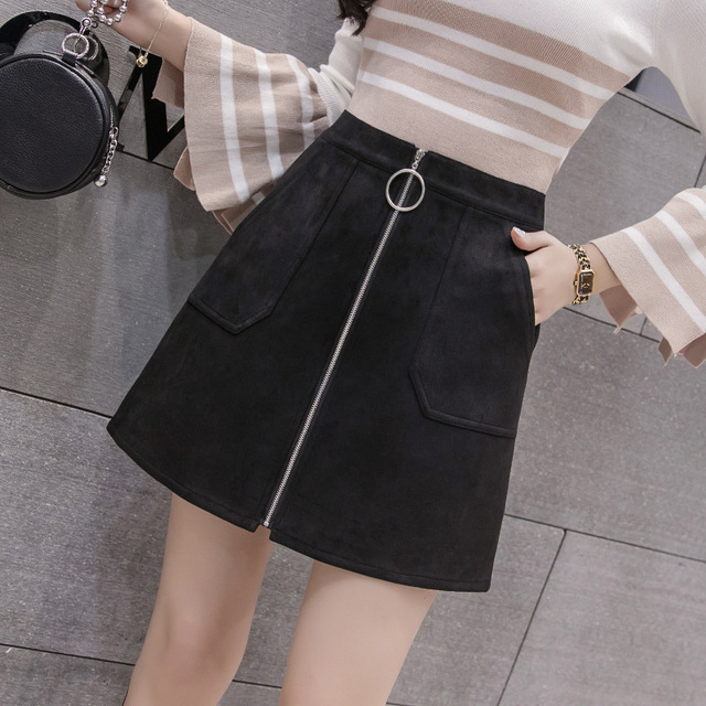 Black Elegant Office Lady Solid Color Front Zipper Mid High Waist Skirts Spring Winter Women Suede Leater Package Hip Skirt 1