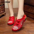 Peony Flower Embroidered Shoes Classical National BeiJing Canvas Shoes Women Flats Casual Brand Designer Female Footwear SNE-410