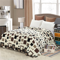Star Plaid Printing Modern Soft Brown Grey Blue Solid Color Flannel Blanket Home Bed Sofa 120x200
