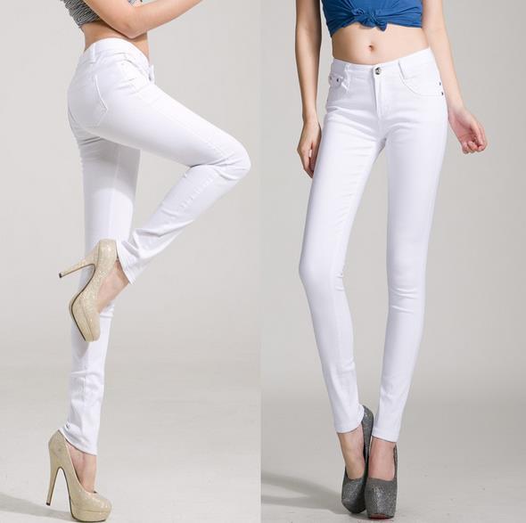 Nuevos colores de caramelo pantalones de mujer de moda ropa barata de algodón de mezclilla de alta cintura true skinny Pantalones de mujer ropa
