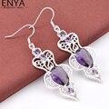 ENYA 2017 New Fashoin Women Jewelry Romantic Purple Amethyst Drop Earrings High Quality Bijoux E0018
