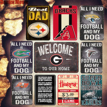 Best DAD Shabby Chic Metal Plates Bar Pub Cafe Alabama Decorative Sign Steelers Sticker Football Painting Super Bowl Decor MN102