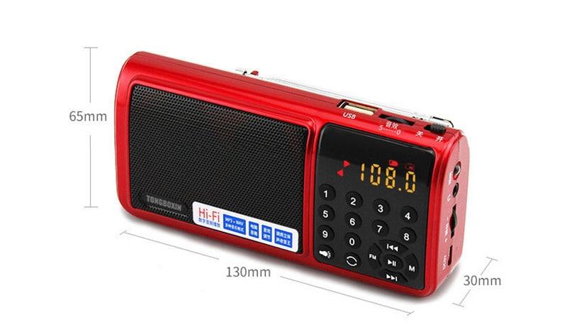 ФМ АМ ЮЗ радио с светодиодный фонарик и два слот для TF карты портативный динамик с USB для перезаряжаемые 18650 батарея стерео МР3 плеер