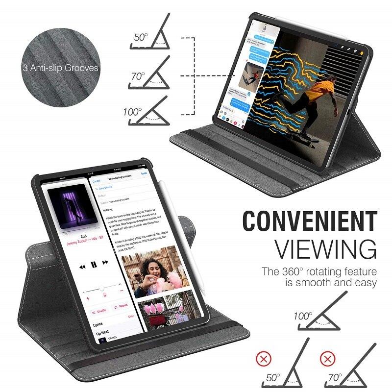 Apple Auto-Awake-Cover iPad Rotating-Leather Funda for Case 360-Degree Smart-Sleep Coque