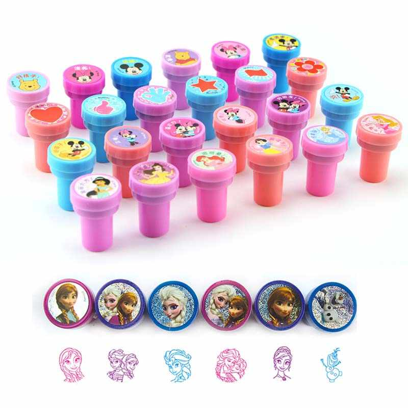 6pcs/bag Kids DIY Stamp Education Toy Cartoon Princess Painting Stamps Children School Art Tool Self Inking of Party Toys Set