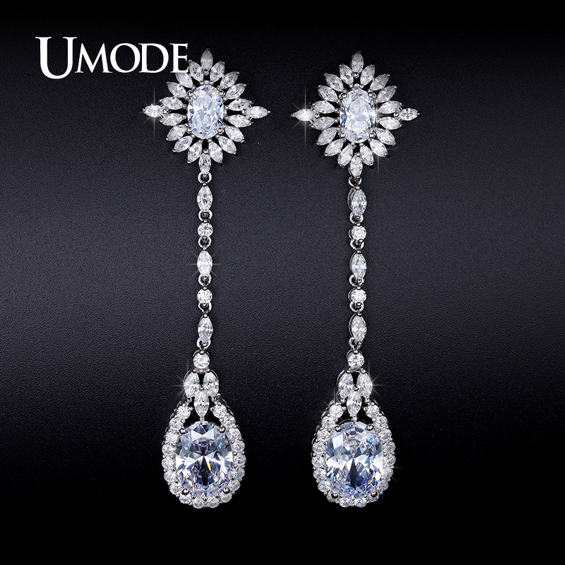 UMODE Imitation Diamond Water Drop Dangle Earrings For Women Jewelry Fashion Brincos Para As Mulheres Christmas Gifts AUE0236