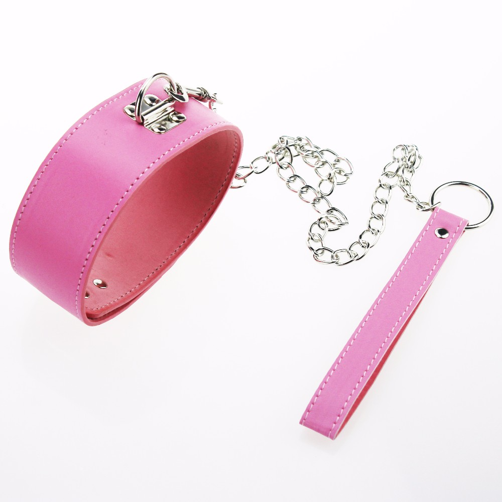 BDSM Sexy Pink PU Leather Sex Collar Lock Tie neck Leash Bondage Toys For Sex Games cosplay Erotic Posture Juguetes Eroticos 3