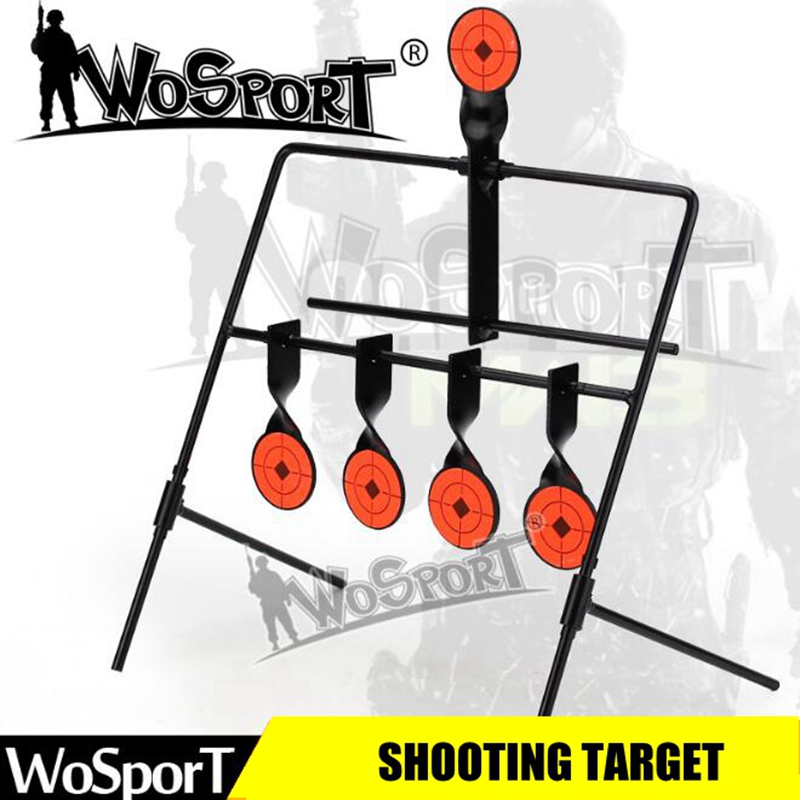 WOSPORT 5-Plate Reset Shooting Target Tactical Metal Steel Slingshot BB Gun Airsoft Paintball Archery Hunting