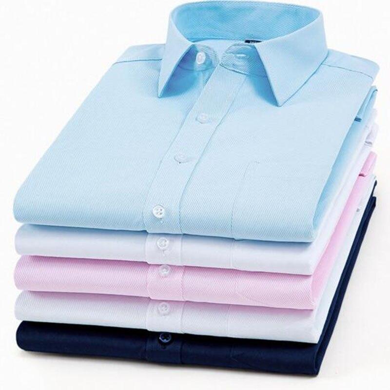 Drehen-unten Kragen Geschäfts Formale Kleid Shirts Einfarbig Reine Coton Starker Widerstand Gegen Hitze Und Starkes Tragen Hemden Hemden Mode Männer Langarm Einreiher Shirts Camisa
