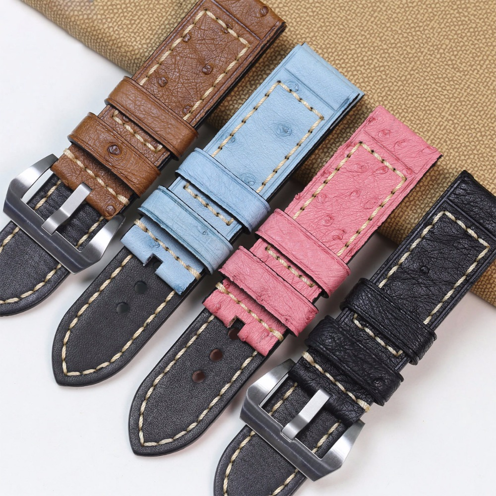 Pesno Africa Genuine Ostrich Leather Watch Band Black Brown Grey Pink Blue 24mm Watch Strap Men Watch Accessory for Panerai new arrival 24mm orange genuine real ostrich skin leather watch band strap bracelets for men s wristwatch
