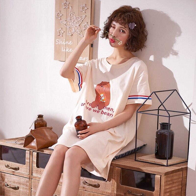 Yidanna Summer Cotton Women   Nightgown   Female O Neck   Sleepshirt   Lady Sleep Clothing Princess Nighty Cute Short Sleeved Nightwear