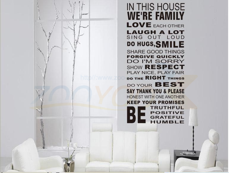 Harmony House Rules Home Decor Creative Quote Wall Decal Zooyoo8054  Decorative Adesivo De Parede Removable Vinyl Wall Sticker In Wall Stickers  From Home ...