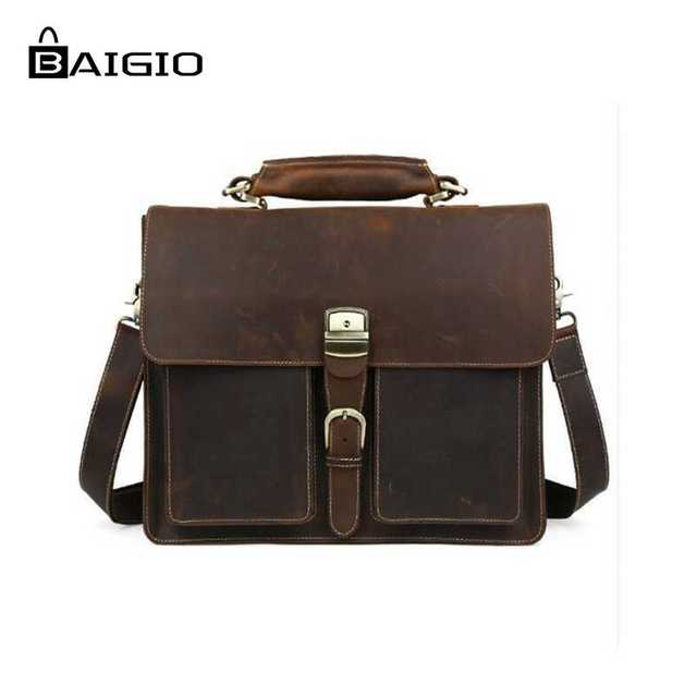 Baigio Men Briefcase Bag Crazy Horse Vintage Genuine Leather Bag Lock Key  Designer 15.6 Inch Laptop Bag cases Messenger Handbag 26efe6e8e9f9b