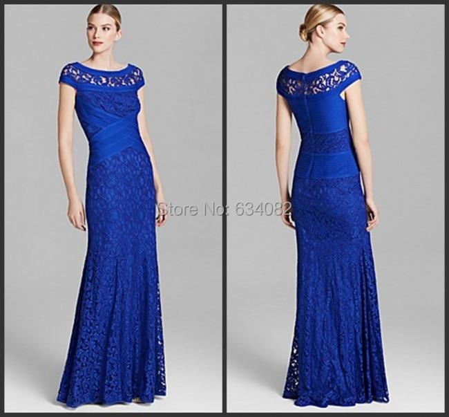 2016 Markante Cap Kurzarm Bodenlangen Mantel Blau Spitze Mutter Der Braut Kleid Lange Abendkleid Vestido De Festa Longo