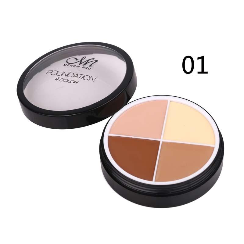 Wholesale Menow 4 Colors Brand Makeup Face Concealer Cream Long Lasting Waterproof Camouflage Concealer Palette CosmeticsC14002 15 colors makeup concealer brush cream palette