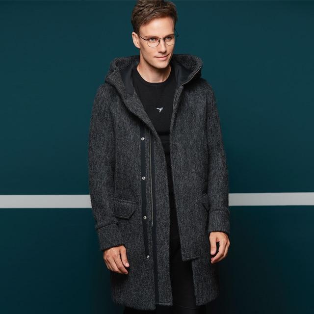 Businness пальто мужские 40.2% шерсть Двусторонняя Мелтон плед Длинные куртки с капюшоном шерстяные на осень-зиму теплое пальто парка хороший стиль