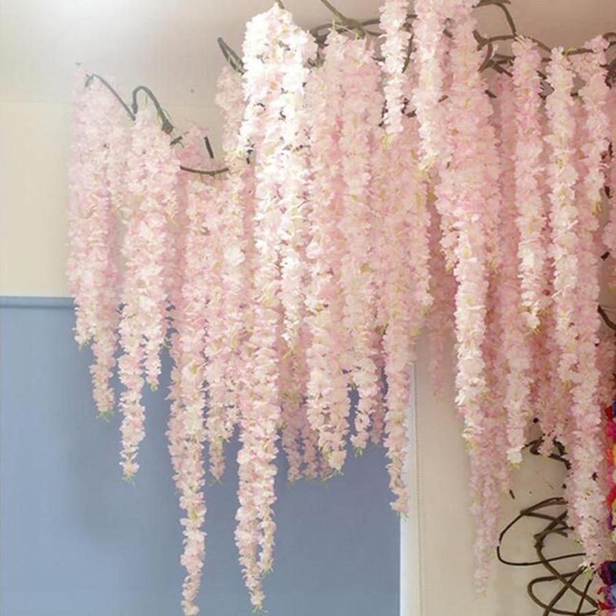 100CM artificial Cherry blossom vine silk flowers Sakura for party Wedding ceiling decor fake garland arch ivy diy party decor(China)