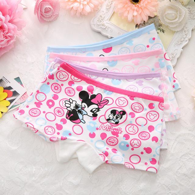 4pcs/lot 2017new fashion kids panties girls' briefs female child underwear lovely cartoon panties children clothing