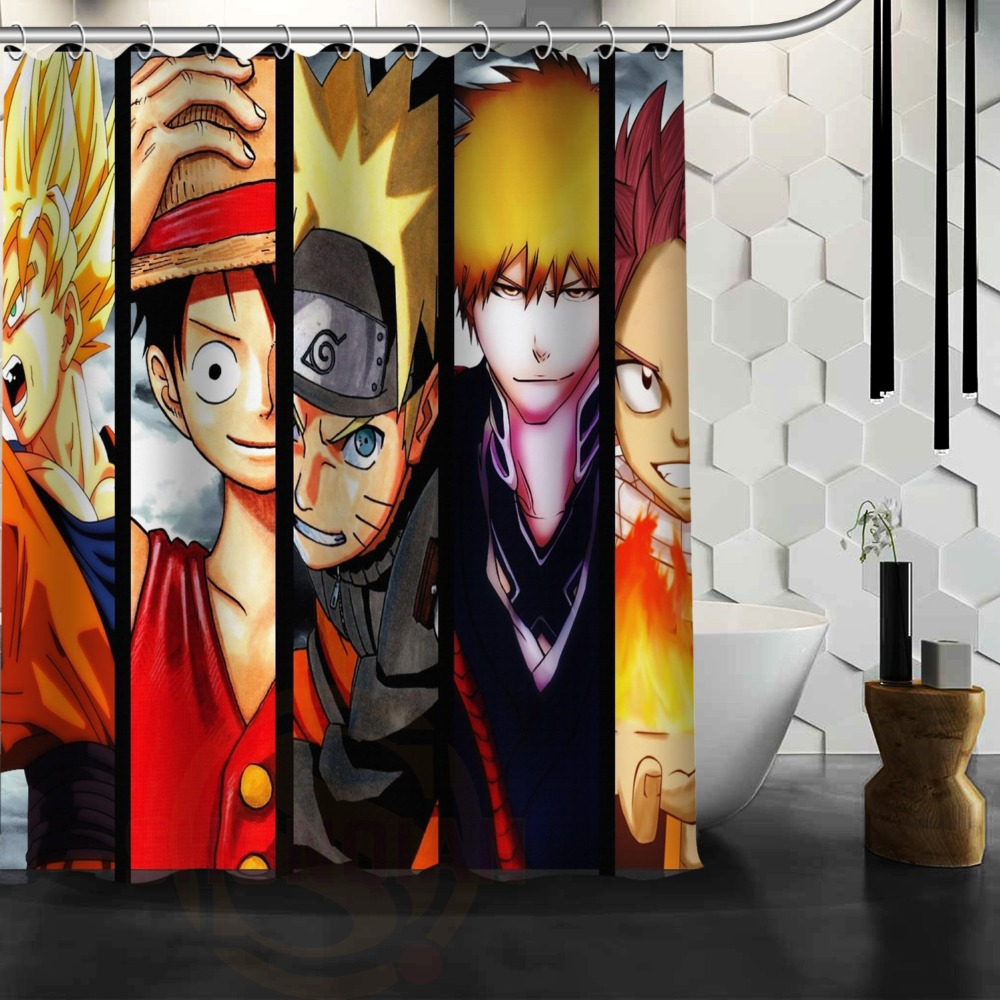 Custom Anime Shower Curtain One Piece Dragon Ball Z Bleach Fairy Tail Naruto Characters Together Idea In Curtains From Home Garden