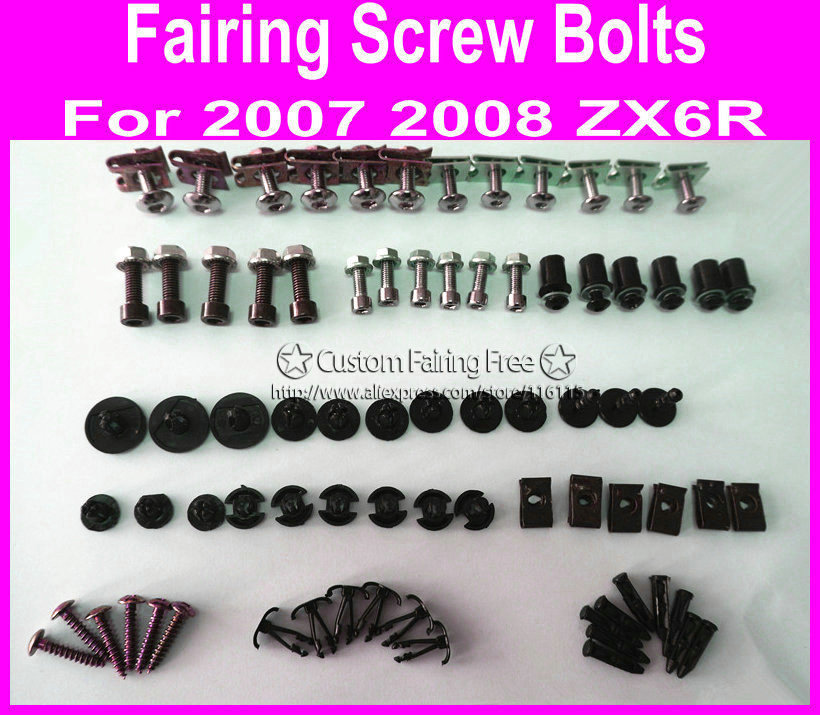 and Hardware Fasteners Complete Motorcycle Fairing Bolt Kit Kawasaki ZX-6R 2000-2002 ZZR600 2005-2008 Body Screws