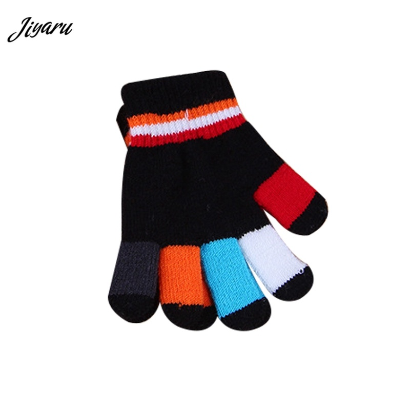 Sports Clothing Shop For Cheap Boys Girls Outdoor Patchwork Baby Knitted Soft Kids Thicken Winter Warm Gloves Half-finger For 4-8y