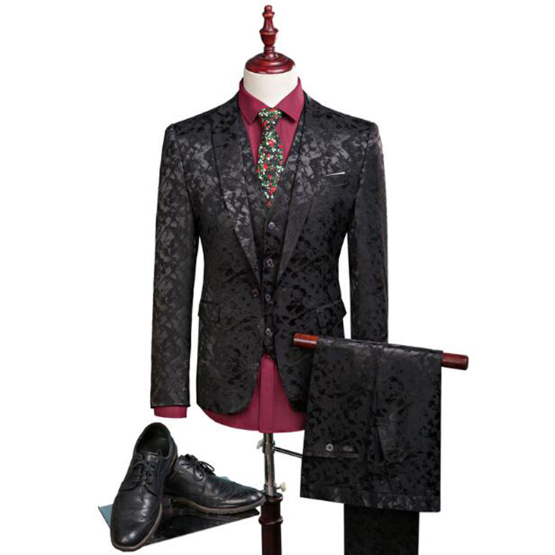 Groom Tuxedos Groomsmen Mens Suits Wedding Party Tuxedos / Man's Pure Color Business Suit Jacket Blazers coat + vest +pants