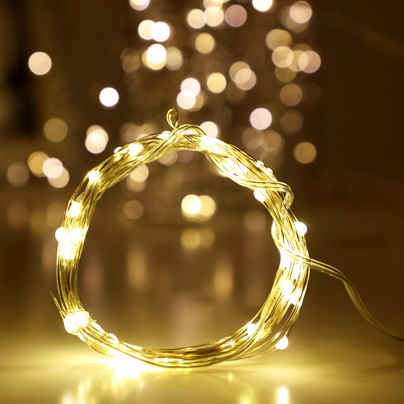 New 1M 2M 5M Battery Operated LED Copper Wire String Lights for Xmas Garland Party Wedding Decoration Christmas Fairy Lights