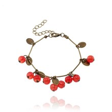 HUMANO FINO Retro Fruit Tree Leaves Cherry Crystal Bracelet Red Charm  For Men Women Friend Children Birthday Gift Jewelry