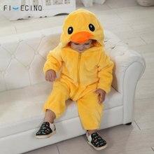 Gele Eend Kigurumis Baby Kid Animal Cosplay Kostuum Kawaii Warm Flanel Pyjama Pak Kind Baby Verjaardagsfeestje Game Jumpsuit