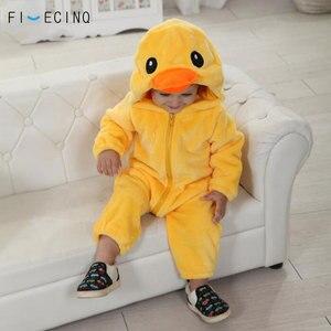 Image 1 - צהוב ברווז Kigurumis תינוק ילד בעלי החיים קוספליי תלבושות Kawaii חם פלנל פיג מה חליפת ילד תינוק מסיבת יום הולדת משחק סרבל