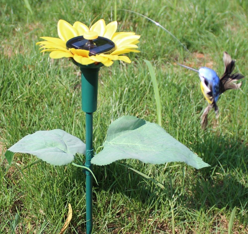 Solar Sunflower Flying Fluttering Hummingbird Birds Garden Stake ...