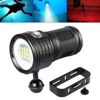 QX27 500W Fitteen 5050 White XML2 Six XPE Red R5 Six XPE Blue R5 LED Underwater 80m Diving Flashlight with Spherical Bracket