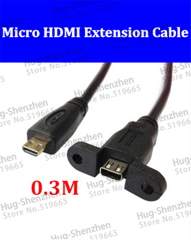 HD-119-0.3M Micro HDMI Male to Female M/F Extension Panel Mount Cable 30cm 10pcs/lot