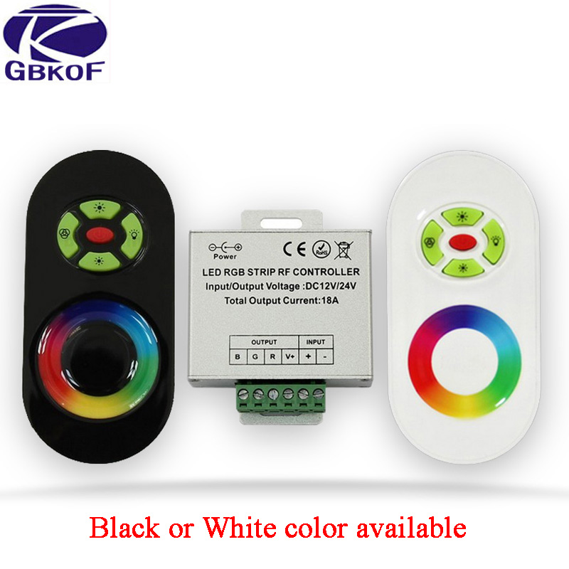 DC 12V-24V 18A RGB Controller for 3528 5050 RGB <font><b>LED</b></font> <font><b>Strip</b></font> Light Wireless RF Touch Panel <font><b>Dimmer</b></font> RGB <font><b>Remote</b></font> Controller image