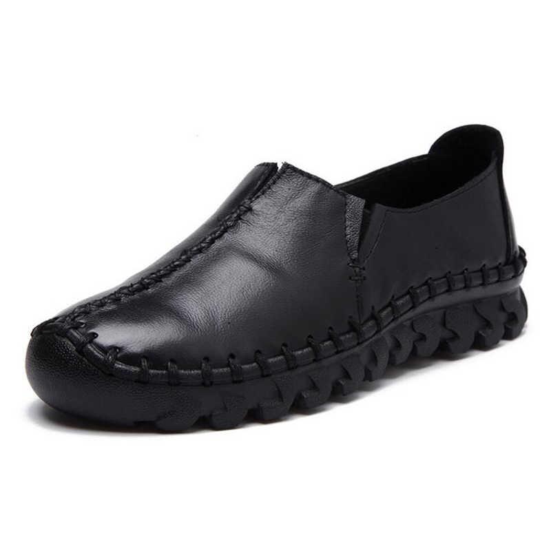 Timetang nova moda feminina sapatos mulher de couro genuíno sapatos planos mão-costurado mocassins de couro feminino sapatos casuais femininos apartamentos c244