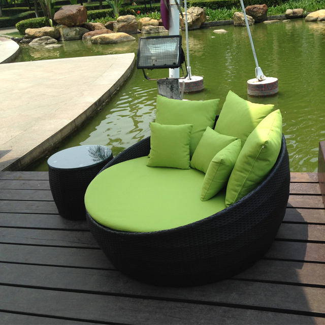 Round Bed Outdoor Balcony Leisure Rattan Lounger Beach Lying Terrace Sun Beds