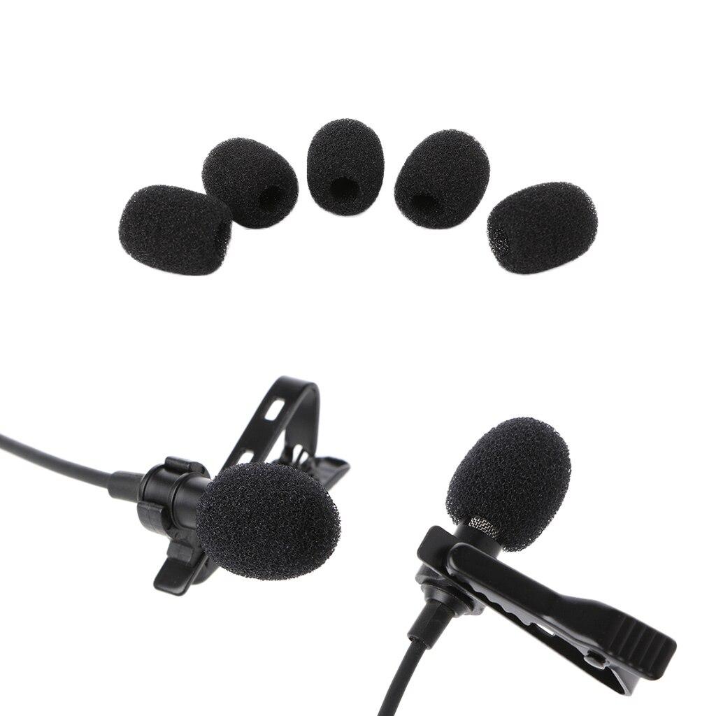 5X Round Ball Lavalier Microphone Foam Windscreen Sponge Windshields 6mm Opening